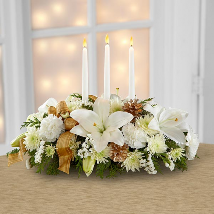 Three Candle White and Gold Christmas