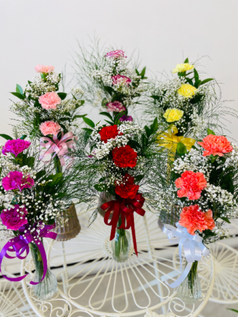 Three Carnations with a mix of Baby's Breath Flower