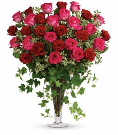 Three Dozen Pink & Red Roses in Large Trumpet vase