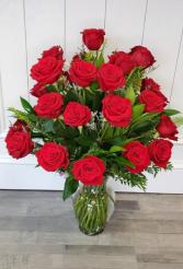 Three Dozen Red Roses Vase Arrangement