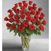 Three Dozen Red Roses Vase