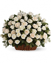 Three Dozen White Rose Sympathy Basket Funeral Flowers