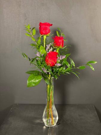 Three Fiery Roses Bud Vase