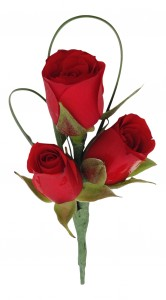 Three Miniature Roses  B29-16 Boutonniere