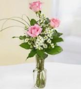 Three Pink Rose Bud Vase Product Id #J3