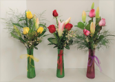 Three Rose Premium Roses and Lily Arrangement