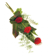 Three Rose Sheaf  Wrapped Bouquet