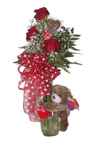 Three Roses and a Hugger Bear Roses, Hugger Bear and Chocolate Heart