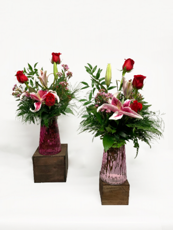 Three Roses and a Lily  Valentine Arrangement