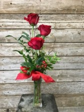 Three Roses in Bud Vase