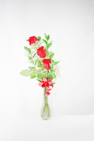 Three Roses Stacked in Single Vase Small