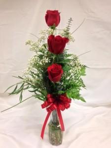 Three Roses Vase Arrangement
