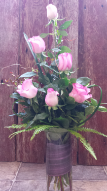 Tickled Pink Half Dozen Rose Arrangement