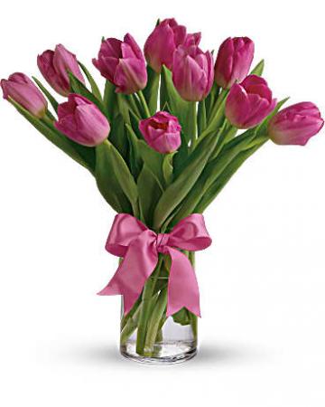 Tickle Me Pink Tulips Vase Arrangement