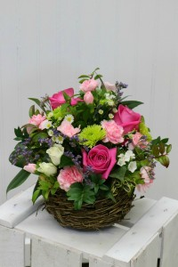 Tickled Pink Basket Arrangement