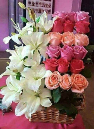 TIERS OF LOVE ROSES AND LILYS