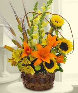Tiger Lilies Wheat, Sunflowers, Snapdragons & Lilies