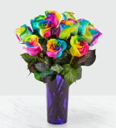 Time to Celebrate Rainbow Rose Bouquet - 12 Stems .WGBD19-N