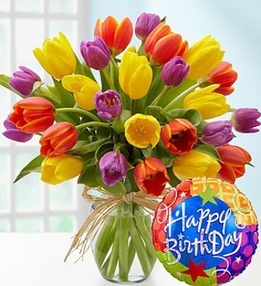 Timeless TulipsR Happy Birthday Arrangement