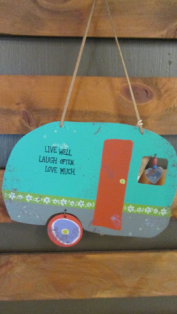 Tin Camper Wall Hanging Live Laugh Love
