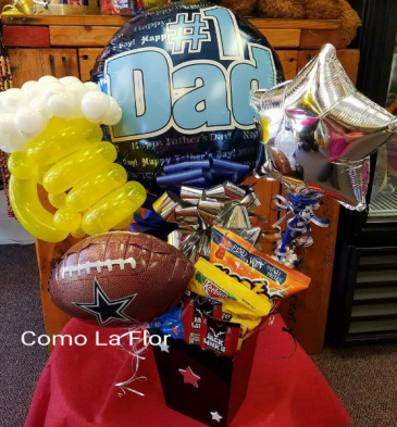 Tin filled with Goodies for Dad Balloon Candy and treats