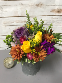 Tin of  Fall Color Arrangement