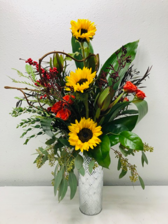 Tin Sunflower  Container Arrangement