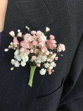 Tinted Babies Breath Boutonniere