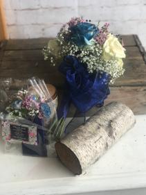 Tinted blue roses  arrangement