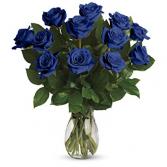 Tinted Blue/Purple Roses in Vase Vase Arrangement