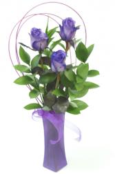 Tinted Purple Bud Vase Vase Arrangement
