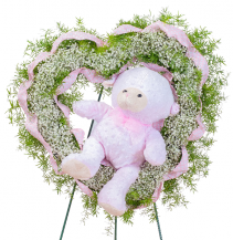 Tiny Angels Wreath in Pink Standing Spray