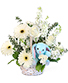 Tiny Blue Blessing Basket of Flowers