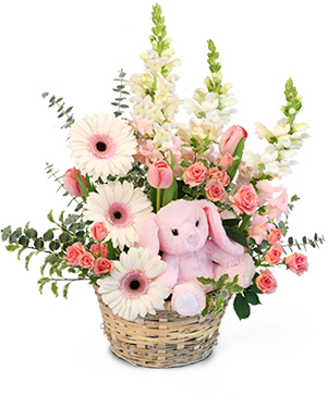Tiny Pink Blessing Basket of Flowers in Jacksonville, AR | DOUBLE R FLORIST
