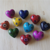 Tiny soapstone hearts - set of 10
