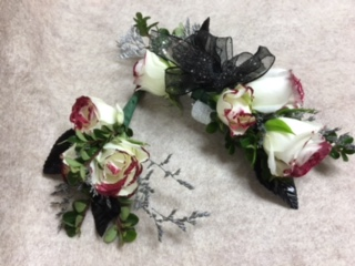 Tipped with Class Wrist Corsage and Matching Boutonniere