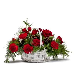 Classic Holiday Basket Fresh Flower Arrangement in Saint Petersburg, FL | ABSOLUTELY BEAUTIFUL FLOWERS