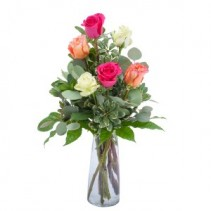 Six Roses Fresh Flower Arrangement