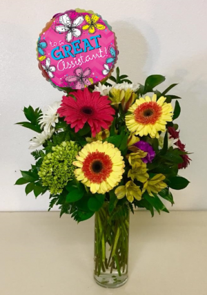 To A Great Assistant! Spring Vase Floral Arrangment in Plainview, TX | Kan Del's Floral, Candles & Gifts