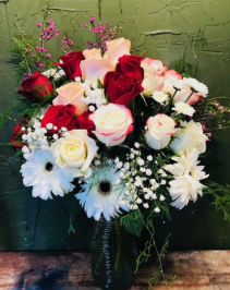 to Mom w/Love 18 roses/ with gerbers and filler