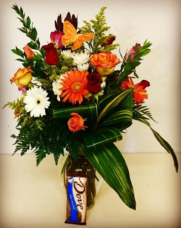 """To My """"Sweet"""" Heart! Chocolate & Floral Duo Sweet Chocolate with Fall Design Rose Arrangement."""