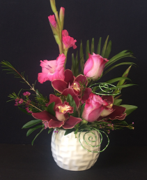 Today & Forever Orchids & Roses in White ceramic vase