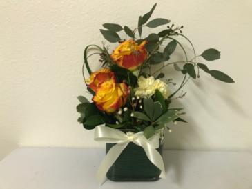 Tonni's Yellow Orange-Tip Roses  Fall Flowers