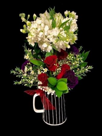 Topiary Bouquet Ceramic with Alstromeria & Mix