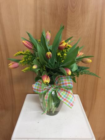Totally Tulips vase arrangement