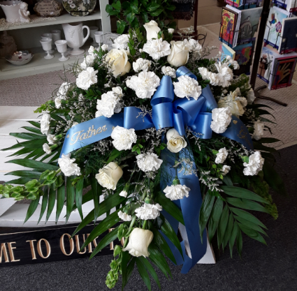 Touch of Blue Fresh funeral spray