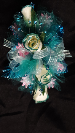 Touch of Teal wrist corsage