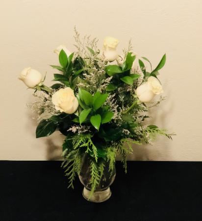 Touch of Winter Half Dozen Rose Arrangement