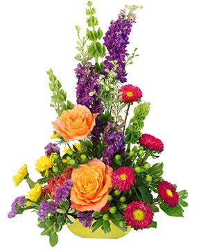 Tower of Flower Floral Arrangement in Jacksboro, TX | Woodshed Works Gifts & Flowers