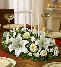 Traditional All White Holiday Centerpiece With Taper Candles in Gainesville, FL | PRANGE'S FLORIST